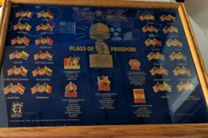 Coca-Cola Flags of Freedom Framed Collectors Enamel Pin Set 1985