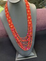 Vintage Boheniman Pink Bright Interesting  Seed Multi Strand Long Necklace Boho