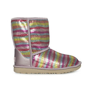 UGG CLASSIC SHORT II MURAL RAINBOW MULTI SEQUIN BOOTS YOUTH 4 FIT'S WOMEN'S 6