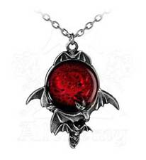 New Alchemy Gothic Blood Moon Red Bat Pendant Necklace P447
