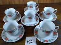 Set of 6 Coffee Cups Saucers Christmas Poinsettia Gold Trim TRISA China 1693