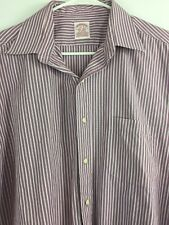 Brooks Brothers Button Up Sz 17-3 Long Sleeve Striped Purple White