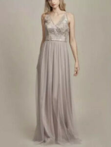Amsale Sora Sequin & Lace Gown Size 2 Fawn Sleeveless V-Neck Slender Strap NWT