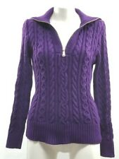Womens Ralph Lauren Purple Cable Knit Sweater Cardigan size Large