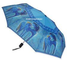 Laurel Burch Compact Umbrella Horses Teal Mares Auto Open Close Large Canopy New