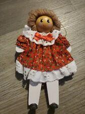 Wood Doll Christmas Tree Ornament w/Real Dress Rag Doll Look Holiday Home Decor