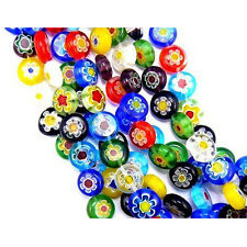 40-Piece Colorful Mix Millefiori Flower Glass Coin Beads,10mm L3