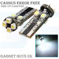 UK 4x T10 CAR BULBS LED ERROR FREE CANBUS 10 SMD XENON WHITE W5W 501 SIDE LIGHT