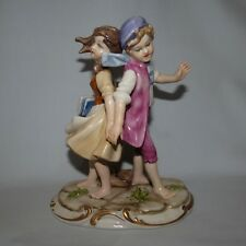 fine quality CAPO DI MONTE ITALY figure of young boy and girl EXCEPTIONAL DETAIL