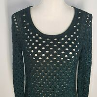 Rock & Republic Glittering Open Knit Top Size Large Metallic Shirt Midnite Blue