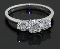 18K white gold 1.50CT diamond 3-stone wedding engagement ring size 6.75