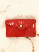 Small Red Patent Leather Tory Burch Crossbody With Bow And gold Chain Strap