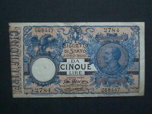 **Rare** 1904  Italy Biglietti Di Stato 5 Lire  'AVF'  Banknote