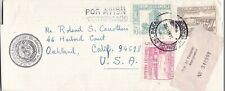 1972 Paraguay #1467,#1470-1 on Reg Cover to Oakland CA, enclosure *d