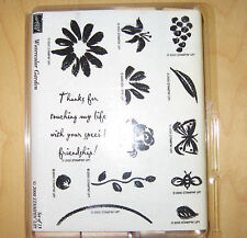"Stampin' Up! ""WATERCOLOR GARDEN"" Sets Wood Mounted Rubber Stamps, VGC 2000"