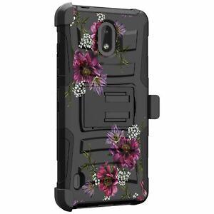 For Nokia 3.1, Nokia 3.1 A, Nokia 3.1 C Holster & Kickstand Case -Floral Designs