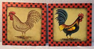 SET OF ROOSTER WALL PLAQUES