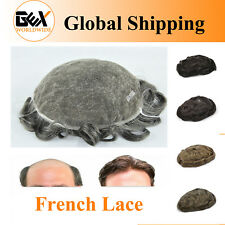 GEX 62 Colors Toupee Mens Hairpiece FRENCH LACE Human Hair Replacement System