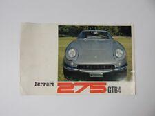 Original Ferrari 275 GTB/4 4cam Sales Brochure Pamphlet Manual 250 330 365