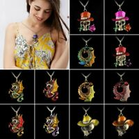 Vintage Retro Jewelry Necklace Pendant Skull Rose Flower Crystal Sweater Chain