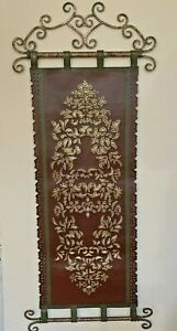 "Leather Old World Tapestry Wall Hanging Scroll Mid Evil Art 63"" Long  Burgundy"