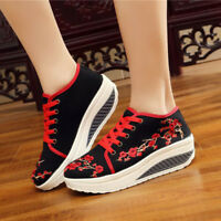 Women Wedge Rocker Sole Shoes Flower Embroidery Casual Comfort Sport Loafer