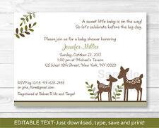Woodland Baby Deer Neutral Printable Baby Shower Invitation Editable PDF