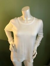 CABI Cream Colored Pullover Sweater Mesh Net Sleeves and Back w/Back Flap