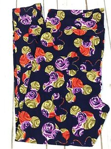 TC2 Lularoe Leggings Disney Mickey Minnie Floral Rose Silhoutte on Dark Purple
