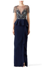 Marchesa Notte Navi Lace Ruffle Gown Formal Dress size 4
