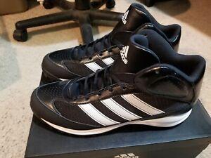 NEW Adidas Turf Hog Lx Mid Black White Football Shoes Cleats Men's size 14