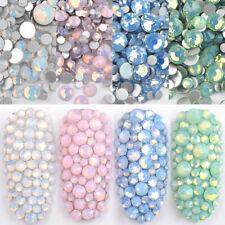 4 Bags Ss4-Ss20 Flatback Opal Crystal Nail Rhinestones Charm Nail Art Decor Set