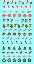 Christmas Nail Art Water Decals Transfers Stickers Santa Reindeer Candy (YE457)