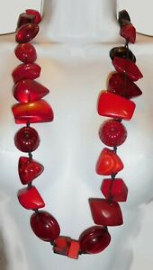 """Sobral 36"""" Long Aventuras Indiana Chunky Red Artist Made Bead Statement Necklace"""