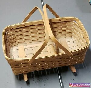 WOW! 1984 Longaberger Doll Cradle Gathering Rocker Basket with Organizer 19x13x9