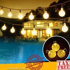 LED Solar String Lights Warm Crystal Balls Garden Patio Yard Party Outdoor Orb