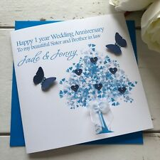 Personalised Handmade 1st Wedding Anniversary Card Son, Daughter, Sister Brother