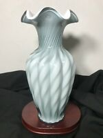 "Vintage Fenton Art Glass Spiral Optic Overlay Light Blue Swirl 11"" Melon Vase"