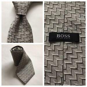 HUGO BOSS Men's Necktie ITALY Luxury Textured woven Silver EUC