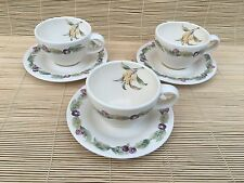 3 PFALTZGRAFF JAMBERRY CUP AND SAUCER SETS, NICE VINTAGE CONDITION!!!!!