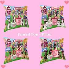 Carnival Kissing Booth Dog Cat Throw Pillow, Pet Lovers Decorative Pillow