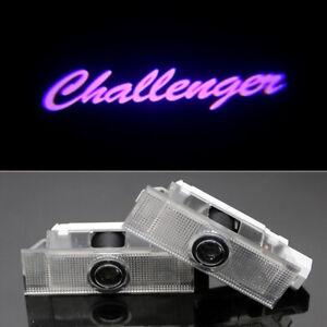 2x Purple LED Logo Car Door Courtesy Projector Puddle Light For Dodge Challenger