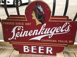 LEINENKUGEL'S  BEER LARGE TIN TACKER SIGN CHIPPEWA PRINCESS Rustic