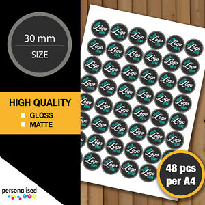 30mm Logo Stickers Round Personalised Business Labels Company Text Custom Image