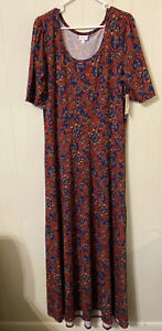 LuLaRoe Ana Dress 3XL Red with Blue & Orange Floral Pattern NEW WITH TAGS!