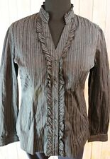 Black Striped Shirt Blouse Ruffle Front Button Down Stretch Career Maurices XL