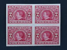 2c Seward Carmine Imperforate Block of 4 1909 US Scott #371 Mint HR