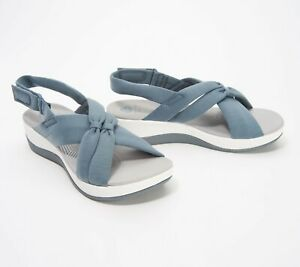 CLOUDSTEPPERS by Clarks Jersey Sport Sandals Arla Belle Size 8.5W Blue Grey (25)
