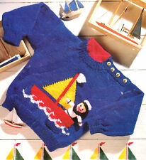 "Baby Childrens Nautical Sweater Toy Sailor  Boat  20"" - 26"" Knitting Pattern DK"