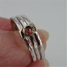 Hadar Designers Israel Handmade Art 9k Gold S Silver Garnet Ring any sz (I r414)